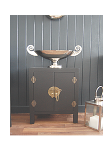 Black Bedside Cabinet with cupboard